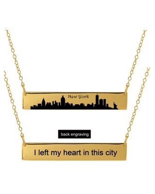 Personalized Sterling Silver, Gold Plated, 10k or 14k City Skyline Bar Necklace With 18 inch Link Chain