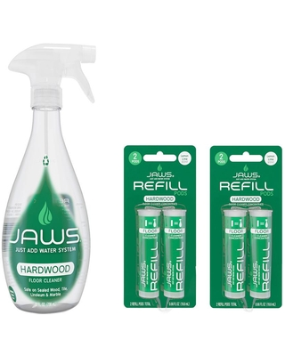 JAWS 27 oz. Reusable Spray Bottle Hardwood Floor Cleaner and Concentrated Refill Pods (4-Pack)