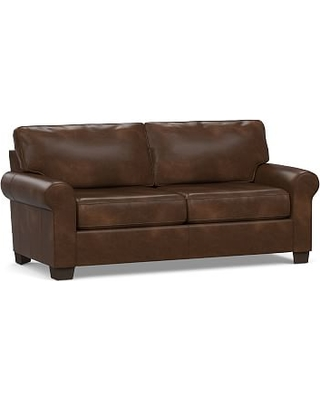 """Buchanan Roll Arm Leather Loveseat 79"""", Polyester Wrapped Cushions, Vintage Cocoa"""