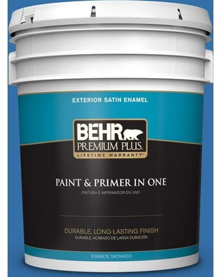 BEHR Premium Plus 5 gal. #P520-6 Mega Blue Satin Enamel Exterior Paint and Primer in One