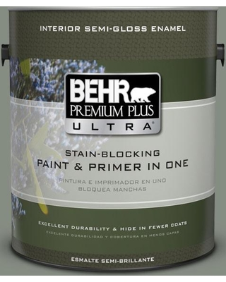 BEHR Premium Plus Ultra 1 gal. #ppf-34 Peaceful Glade Semi-Gloss Enamel Interior Paint and Primer in One