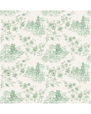 A-Street Laure Green Toile Wallpaper