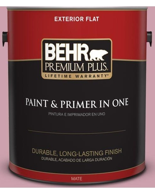 BEHR Premium Plus 1 gal. #100C-3 Birthday Candle Flat Exterior Paint and Primer in One