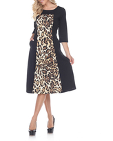 White Mark 3/4 Sleeve Animal Fit & Flare Dress, Womens, Size Small, Brown