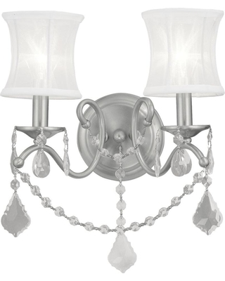 Livex Lighting 2-Light Brushed Nickel Sconce with Off-White Silk Shimmer Shade