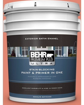 BEHR Premium Plus Ultra 5 gal. #200D-5 Guava Jam Satin Enamel Exterior Paint and Primer in One