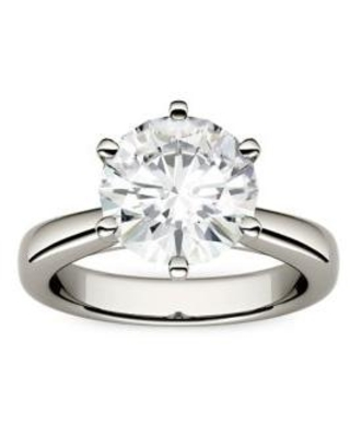 Charles & Colvard White Gold 3.1 ct. t.w. Lab Created Moissanite Solitaire Ring in 14K White Gold