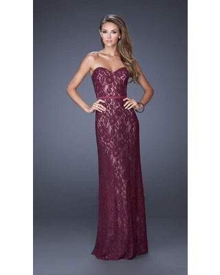 La Femme - 20107 Lace Embellished Sweetheart Column Gown