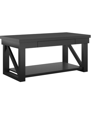 Ameriwood Home Caryle 44 in. Black Large Rectangle Wood Coffee Table with Drawers