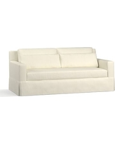 "York Square Arm Slipcovered Deep Seat Sofa 79"" with Bench Cushion, Down Blend Wrapped Cushions, Premium Performance Basketweave Ivory"