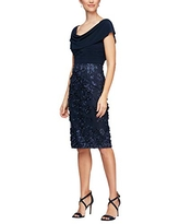 Alex Evenings Women's Short Embroidered Dresses, Navy Cowl, 6