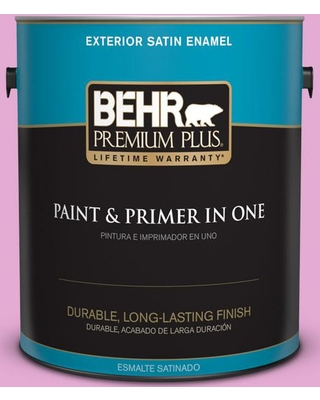 BEHR Premium Plus 1 gal. #680A-3 Pink Bliss Satin Enamel Exterior Paint and Primer in One