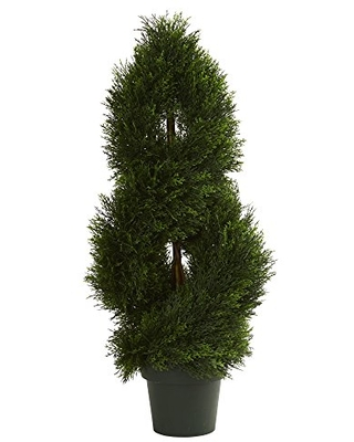 Nearly Natural Artificial UV Resistant (Indoor/Outdoor) Double Pond Cypress Spiral Topiary Tree, Green