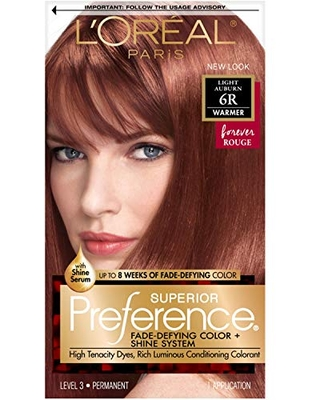 L'Oreal Paris Superior Preference Fade-Defying + Shine Permanent Hair Color, 6R Light Auburn, Pack of 1, Hair Dye