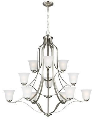 Sea Gull Lighting Emmons 12-Light Brushed Nickel Traditional Transitional Hanging Bell Chandelier with Satin Etched Glass Shades