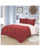 Sweet Home Collection Sherpa 3-Pc. Full/Queen Comforter Set - Burgundy
