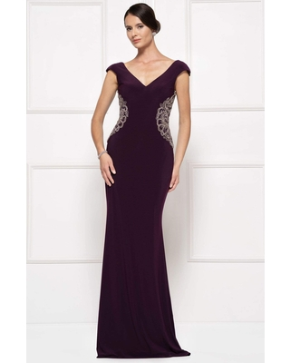 Rina Di Montella - RD2692 V-neck Embellished Sheath Dress