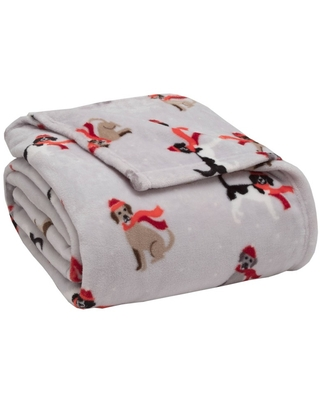 Full/Queen Holiday Print Plush Bed Blanket Winter Tails - Elite Home Products