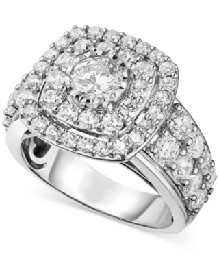 Diamond Halo Cluster Engagement Ring (3 ct. t.w.) in 14K White Gold