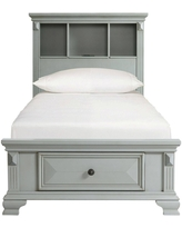 Twin Trent Storage Bookcase Bed with USB Gray - Picket House Furnishings