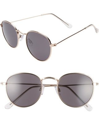 3cc8427dba0c5 Remarkable Deal on Women s Bp. 48Mm Round Metal Sunglasses - Gold  Black