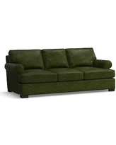 Townsend Roll Arm Leather Sofa, Polyester Wrapped Cushions, Leather Legacy Forest Green