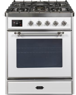 """UM30DNE3WHC 30"""" Majestic II Series Dual Fuel Natural Gas Range with 5 Burners 2.3 cu. ft. Oven Capacity TFT Oven Control Display Chrome Trim in"""