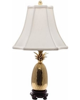 Tropic Pineapple Brass and White Table Lamp
