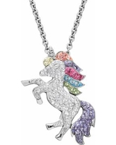 Artistique Crystal Sterling Silver Unicorn Pendant Necklace - Made with Swarovski Crystals, Women's, White