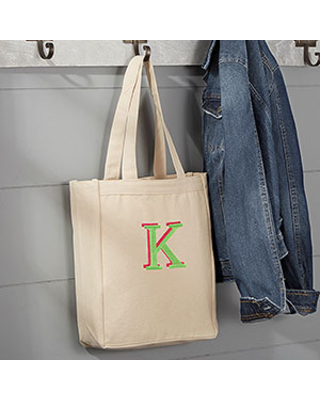 Embroidered Monogram Small Canvas Tote Bag