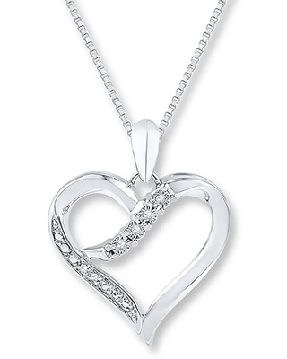 Jared Heart Necklace Diamond Accents Sterling Silver