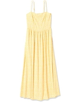 Amazon Brand - Goodthreads Women's Georgette Smock-Back Cami Maxi Dress, Yellow Scattered Floral Print, XX-Large