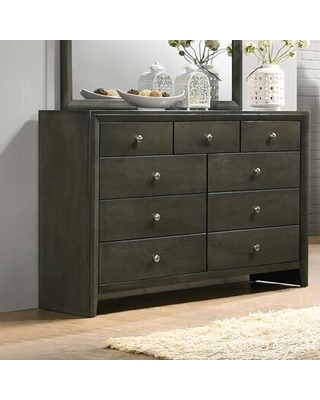 Noah Collection NA400-DR Dresser with 9 Drawers and Chrome Knobs in Light Gray