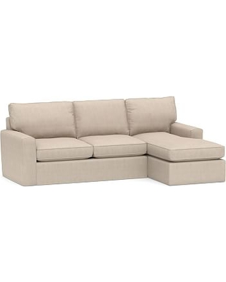 Pearce Square Arm Slipcovered Left Arm Sofa with Chaise Sectional, Down Blend Wrapped Cushions, Sunbrella(R) Performance Sahara Weave Oatmeal