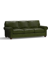 "Webster Leather Grand Sofa 94.5"" with Bronze Nailheads, Down Blend Wrapped Cushions, Leather Legacy Forest Green"