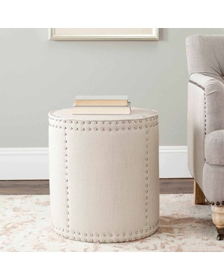Safavieh Paula Rustic Glam Upholstered Ottoman w/ Nail Heads