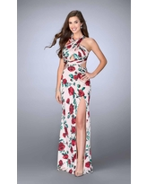 La Femme - 24382 Stunning Intertwined Draping Long Evening Gown