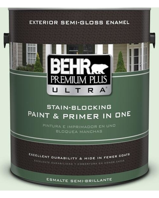 BEHR Premium Plus Ultra 1 gal. #450C-2 Breath of Spring Semi-Gloss Enamel Exterior Paint and Primer in One