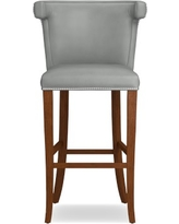 Regency Stool, Bar, Walnut, Tuscan Leather, Dove