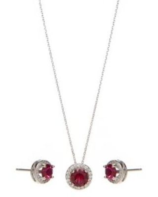 Belk Silverworks Silver Sterling Silver Lab Created Ruby with Cubic Halo Earring and Necklace Set