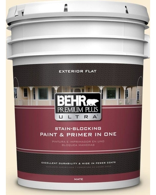 BEHR Premium Plus Ultra 5 gal. #340A-1 Pineapple Fizz Flat Exterior Paint and Primer in One