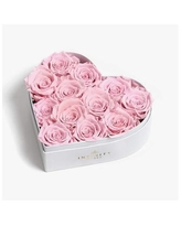 Heart Box of 12 Pink Real Roses Preserved to Last Over a Year - Pink