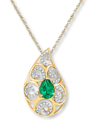 Lab-Created Emerald 1/5 cttw Diamonds 10K Yellow Gold Necklace