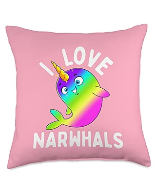 Unicorn Squad Goals Gift Store I Love Rainbow Kawaii Cute Narwhal Whale Gift Throw Pillow, 18x18, Multicolor