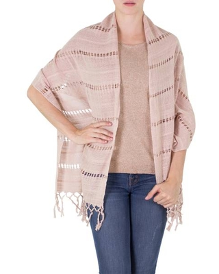 Handwoven Fringed Cotton Shawl in Champagne from Nicaragua