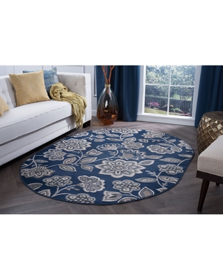 Alise Rugs Carrington Transitional Floral Area Rug (5'3'' x 7'3'' Oval - Navy)