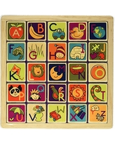 B. toys – Magnetic Alphabetic - Double-Sided 2 in 1 Magnetic Alphabet Puzzle Board with Chalkboard – Classic Wooden Alphabet Puzzle Board – Learning Toys for Toddlers with 26 pieces