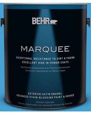 BEHR MARQUEE 1 gal. #P500-5 Peaceful River Satin Enamel Exterior Paint and Primer in One