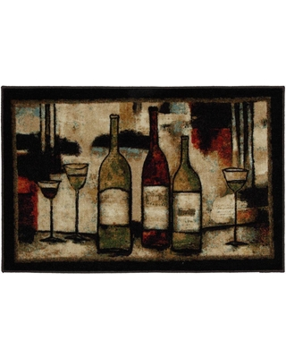 Mohawk Home Wine and Glasses 2 ft. 6 in. x 3 ft. 10 in. Kitchen Rug, Brown