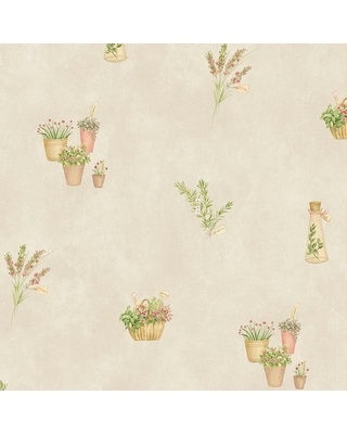 Sales On Norwall Fresh Herbs Vinyl Strippable Roll Wallpaper Covers 56 Sq Ft Red Cream Green